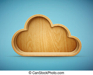wooden cloud shelf eps10 vector illustration