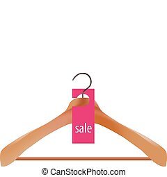 Wooden coat hanger and sale tag illustration