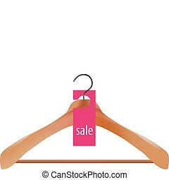 Wooden coat hanger and sale tag illustration
