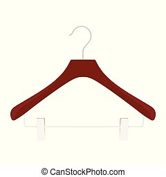 Wooden coat hanger, clothes hanger on a white background