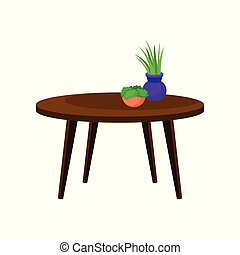 Wooden coffee table, interior design element vector Illustration on a white background