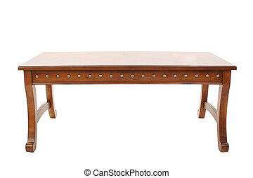 Wooden coffee table over white.