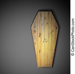 Realistic wooden coffin. Eps 10