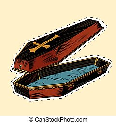 wooden coffin with Christian cross label sticker