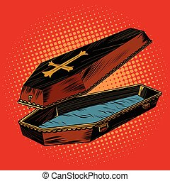 wooden coffin with Christian cross