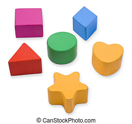 Wooden color blocks and shapes