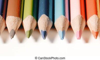 Wooden color pencils extreme close-up shot - Wooden color...