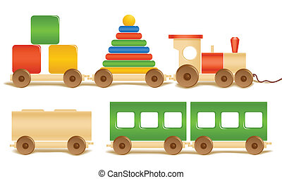Wooden color toys. Pyramid, train, cubes.