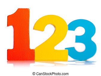 Wooden colorful numbers 1 2 3