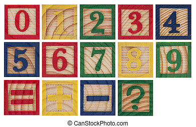 Wooden colorful numbers