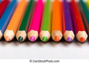 Wooden colorful pencils isolated on a white background, Image.