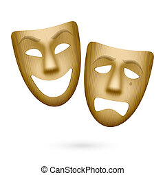 Wooden comedy and tragedy masks