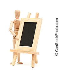 mannequin in pose with wood frame