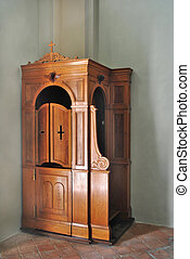 Wooden Confessional - confessional cherry wood in a small...