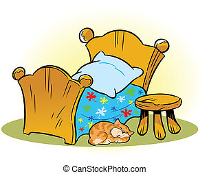 wooden cot - The illustration shows a small wooden bed and a...