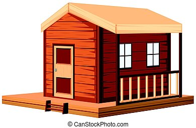 Wooden cottage in 3D design