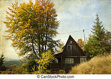 Wooden cottage in autumn fores