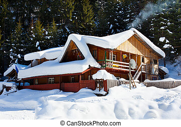 Wooden cottage in snow