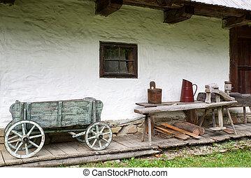 Wooden cottage in village