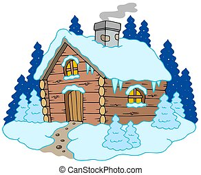 Wooden cottage in winter landscape - isolated illustration.
