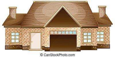 Wooden cottage made of bricks
