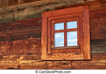 Wooden cottage window