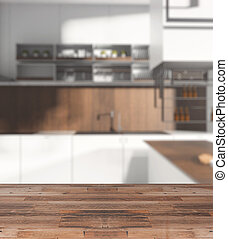 Wooden counter on kitchen backdrop
