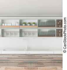 Wooden counter on kitchen background