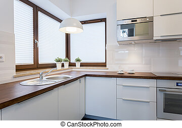 Wooden countertops in traditional kitchen - Wooden...