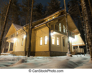 Wooden country house in the forest at night