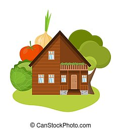 Hand drawn wooden country house surrounded by garden with trees and local produce in summer over white background vector illustration. Countryside comfort living concept
