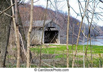 wooden covered bridge in springtime woods