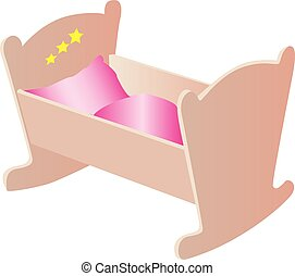 An illustration of a small wooden cradle with pink bedding.