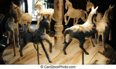 Wooden craft decoration of carousel horses