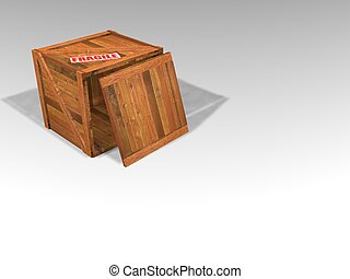 3D render of a wooden crate with fragile sticker