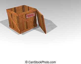 3D render of wooden crate with lid off and fragile sticker