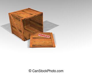 Wooden crate - 3D render of wooden crate with lid off and ...