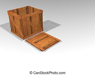 3D render of wooden crate with lid off