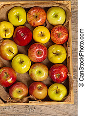 Wooden crate box full of apples