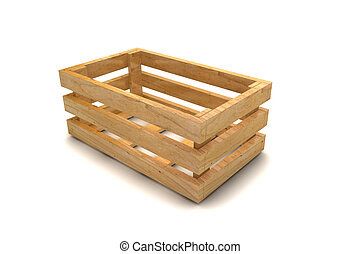 Empty wooden crate in 3d isolated on white background