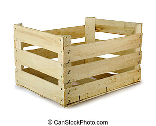 Empty wooden fruit crate isolated on white