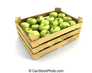 wooden crate full of apples. Isolated 3d rendering
