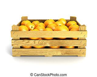 wooden crate full of oranges.