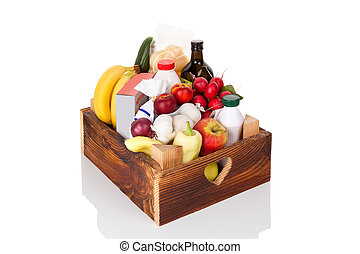 Wooden crate of grocery food and drink from store.