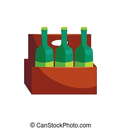 Wooden crate with beer bottles icon, cartoon style