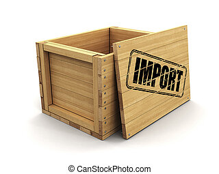 Wooden crate with stamp Import. Image with clipping path
