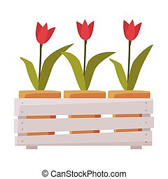 Wooden Crate with Tulip Flowers Flat Style Vector Illustration on White Background