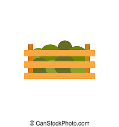 Wooden crate with vegetables icon, flat style