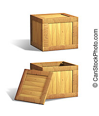Wooden crates - Open and closed wooden crates. Digital...