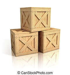 wooden crates isolated